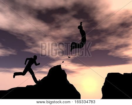 Concept or conceptual young 3D illustration man or businessman silhouette jump happy from cliff over  gap sunset or sunrise sky background for freedom, nature, mountain, success, free, joy health risk