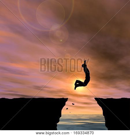 Concept conceptual 3D illustration young man businessman silhouette jump happy from cliff over water gap sunset or sunrise sky background  for freedom, nature, mountain, success, free, joy health risk
