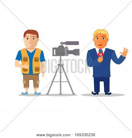 Cartoon Characters Reporter with Cameraman. Vector illustration