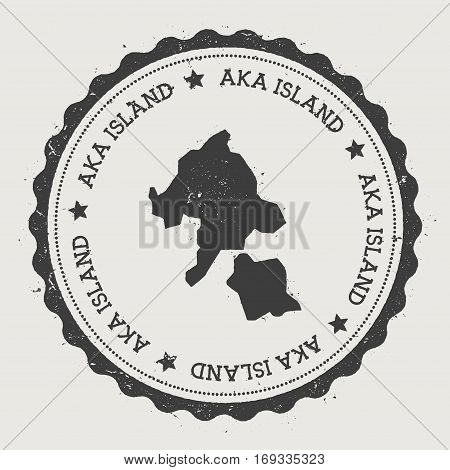 Aka Island Sticker. Hipster Round Rubber Stamp With Island Map. Vintage Passport Sign With Circular