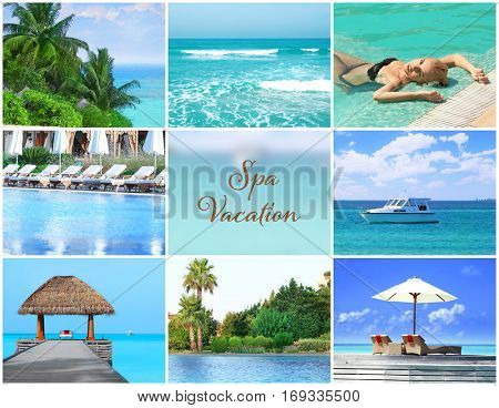 Spa vacation concept. Luxury resort collage