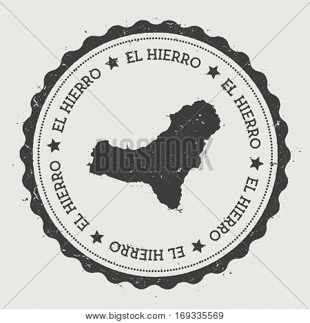 El Hierro Sticker. Hipster Round Rubber Stamp With Island Map. Vintage Passport Sign With Circular T