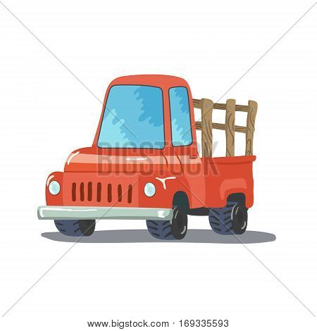 Colorful Cartoon Retro Pickup Truck. Vector illustration