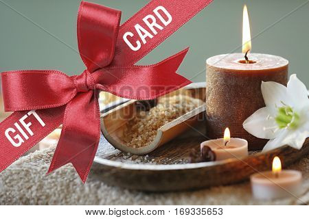 Holiday celebration concept. Spa service gift card