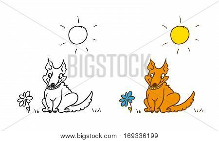 Vector coloring humorous caricature character. Good dog collar sitting on the grass. The sun is shining