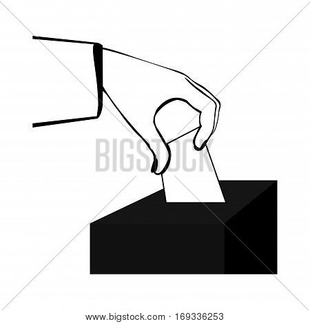 black silhouette with vote in hand and urn vector illustration