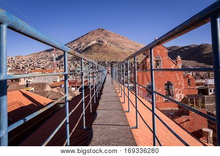 View of Cerro Rico mountain from San Lorenzo Church in Potosi, Bolivia