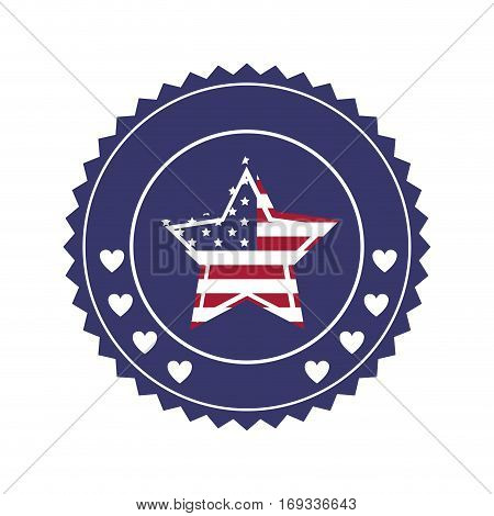 stamp with united states flag in shape star in round frame vector illustration