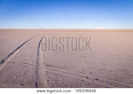 Car tracks on salt lake at Salar de Uyuni, Bolivia at sunrise