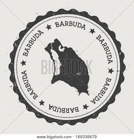 Barbuda Sticker. Hipster Round Rubber Stamp With Island Map. Vintage Passport Sign With Circular Tex