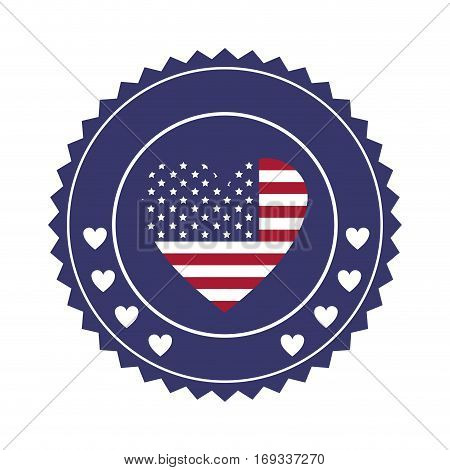stamp with united states flag in shape of heart in round frame with hearts vector illustration
