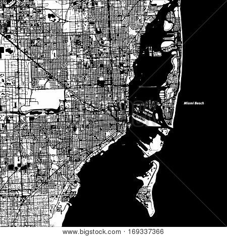 Miami and Miami Beach Vector Map Artprint. Black Landmass White Water and Roads. poster
