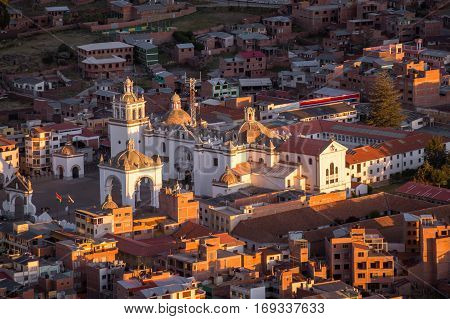Arial view on Basilica of Our Lady of Copacabana, Bolivia at sunset