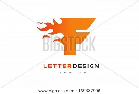 F Letter Flame Logo Design. Fire Logo Lettering Concept Vector.