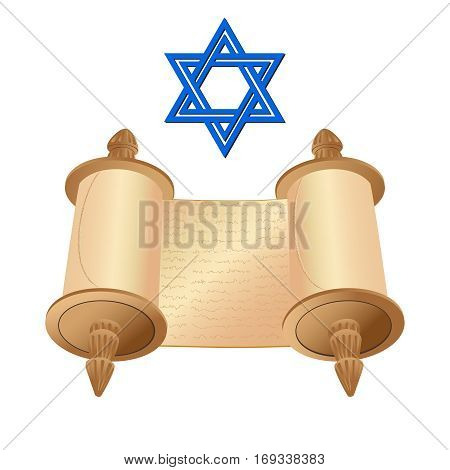Vector illustration old scroll papyrus and star of David on a white background. Cartoon image of the Torah in the unfolded state.