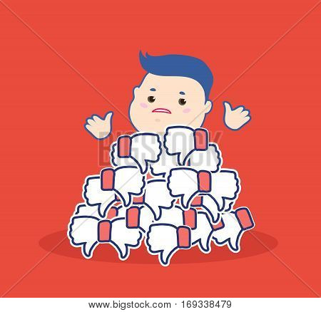 Dislike it concept.Thumbs down symbols.Unhappy cartoon man brush aside the hill red buttons hand dislike.Flat design for social networking, blogging.Disapproval, customers feedback. vector illustration.