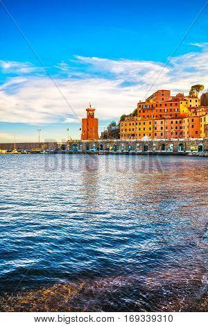 Elba island Rio Marina village bay. Bay beach and lighthouse. Tuscany Italy Europe.