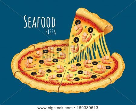 A vector illustration of a cooked Seafood Pizza