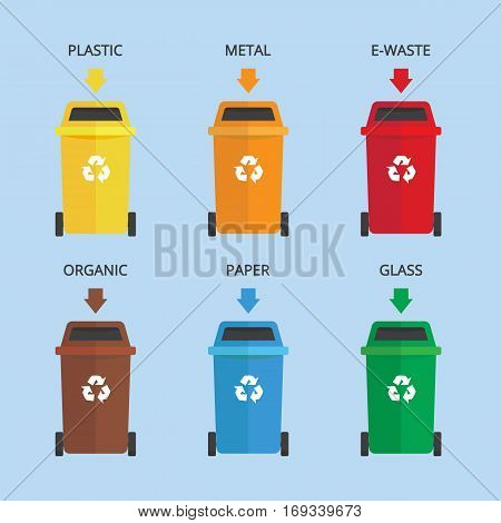 Waste garbage landfill recycle set colorful illustration symbol icon vector stock