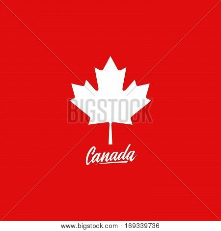 Canada Maple leaf on red background with handwritten word Canada. Vector illustration.