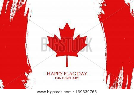National Flag Day of Canada greeting card with brush strokes in the colors of the Canadian national flag. Vector illustration.