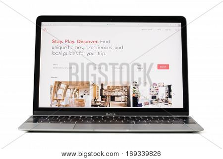 RIGA LATVIA - February 06 2017: Airbnb Inc. site on 12-inch Macbook laptop computer.