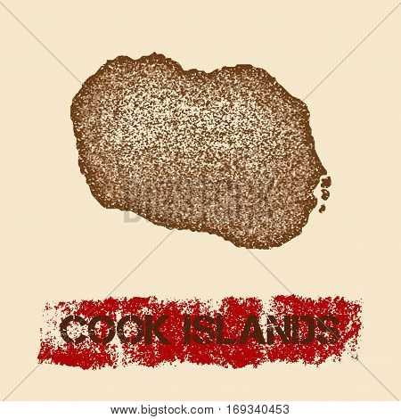 Cook Islands Distressed Map. Grunge Patriotic Poster With Textured Island Ink Stamp And Roller Paint