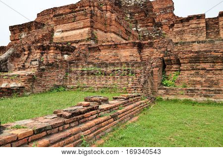 AYUTTHAYA THAILAND - JAN 20 2017: Scenic view of the towering prang of Wat Phra Ram. Built in 1369 on the site of the first Ayutthaya king cremation.