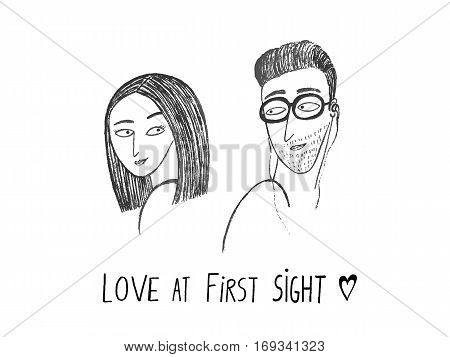 Love at first sight. Boy and girl looking at each other hand drawn vector illustration
