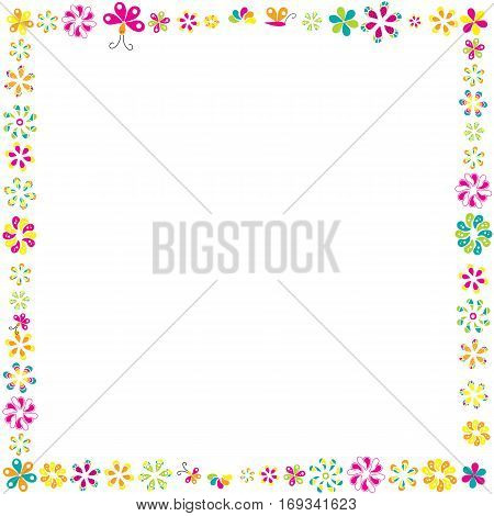 Flowers frame for your design on white background