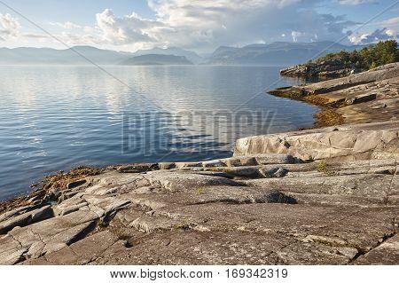 Norwegian fjord landscape. Folgefonn peninsula. Hereiane rest area. Visit Norway