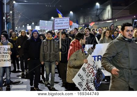 Crowd Of People Protesting Against Romanian Corrupt Politicians