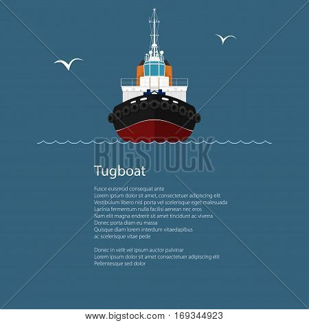 Front View of the Vessel Tugboat and Text ,Push Boat ,Tow Boat for to Towage and Mooring of Other Courts ,Poster Brochure Flyer Design ,Vector Illustration