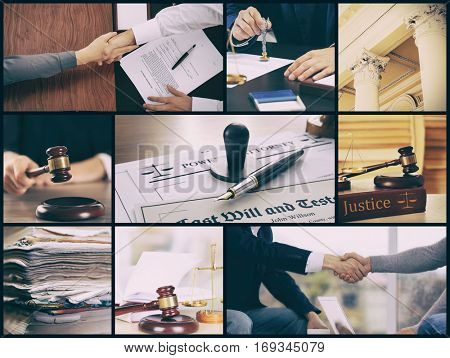Collage for law and notary theme