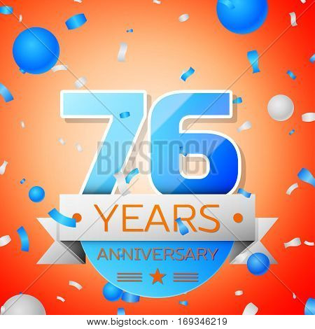 Seventy six years anniversary celebration on orange background. Anniversary ribbon