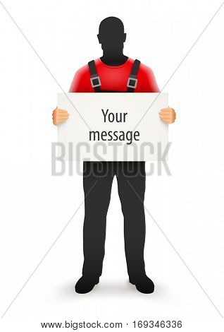 Worker man with blank sign for message in hands human silhouette black uniform holding cardboard paper. Vector illustration. Isolated white background. Protest. Boycott or strike concept