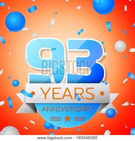 Ninety three years anniversary celebration on orange background. Anniversary ribbon