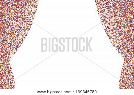Colored curtain isolated on white background. Colorful explosion of confetti. Flat design element. Vector illustrationeps 10.