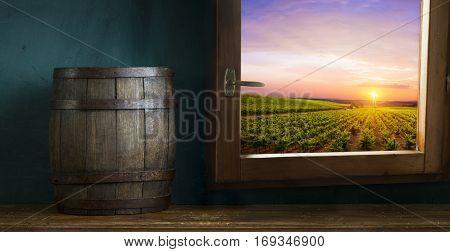 barrel on vineyard in green Tuscany, Italy.