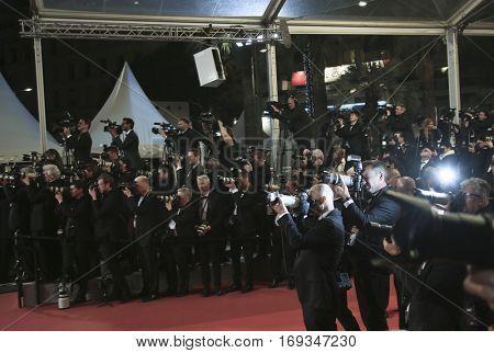 Photographers attends the 'I, Daniel Black (Moi, Daniel Black)' premiere during the 69th annual Cannes Film Festival at the Palais des Festivals on May 13, 2016 in Cannes, France.