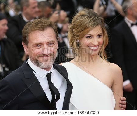 Sveva Alviti and Jean-Paul Rouve attend the 'Slack Bay (Ma Loute)' premiere during the 69th annual Cannes Film Festival at the Palais des Festivals on May 13, 2016 in Cannes, France.