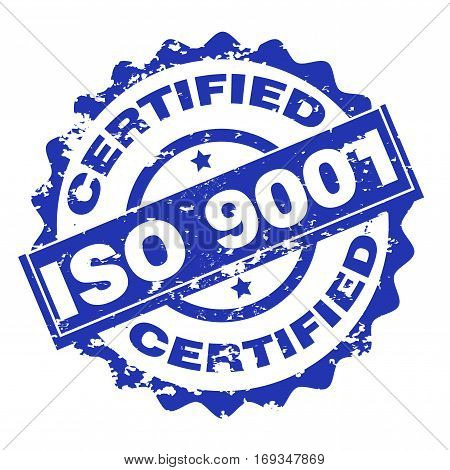 Iso 9001 certified stamp isolated on white