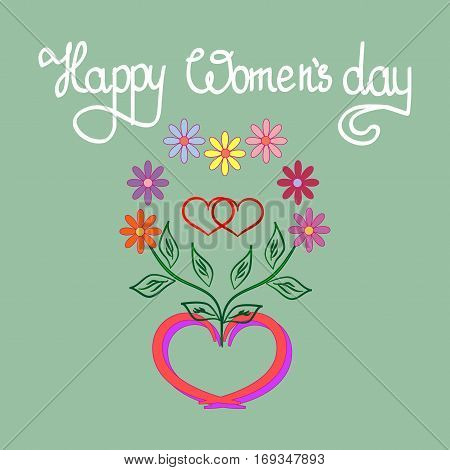 Womens day card. Romantic flower around two heart in frame heart. Two heart symbol love and holiday womens day. Romantic sign linked join love passion. Design element. Vector illustration
