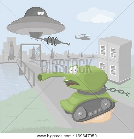 Wicked flying saucer of a large and powerful city is attacking a frightened green tank under which a puddle