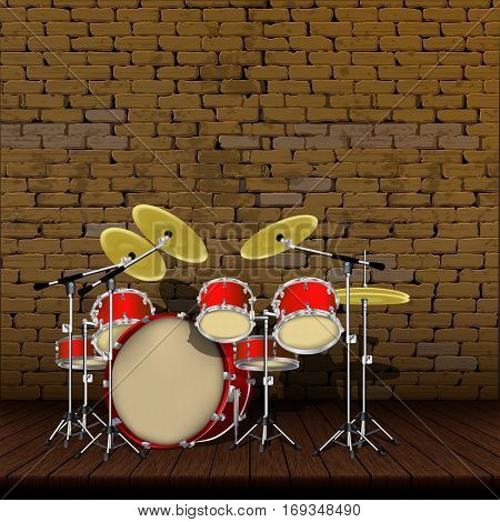 Drum kit on the background of an old brick wall with wooden floors.