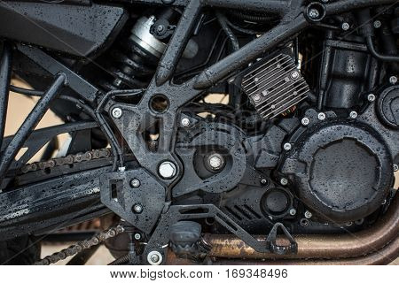 Motorbike Engine - Modern powerful performance road motorbike engine(motor unit - clean and shiny