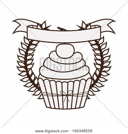 silhouette crown of leaves with cupcake with cream and cherry vector illustration