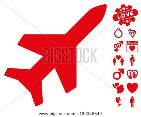 Aeroplane icon with bonus valentine pictures. Vector illustration style is flat iconic red symbols on white background.