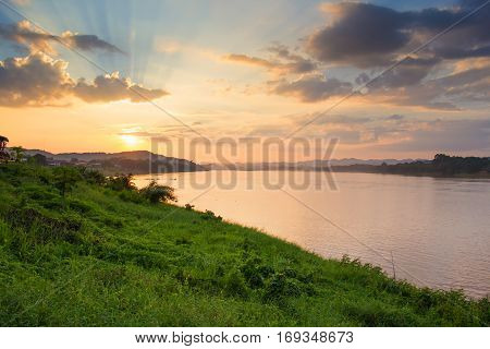 Lanscape view of sunset at Khong river the Thai-Laos border at Chaingkhan distric Thailand