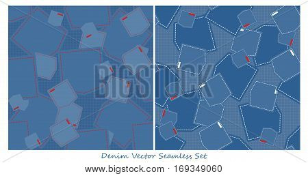 Denim seamless vector set. Wrapping, tiling. Vector backgrounds collection. Graphic texture ornaments for design. Eps10